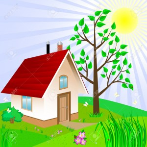 14572695-House-and-yard-with-landscaping--Stock-Vector-house-logo-cartoon